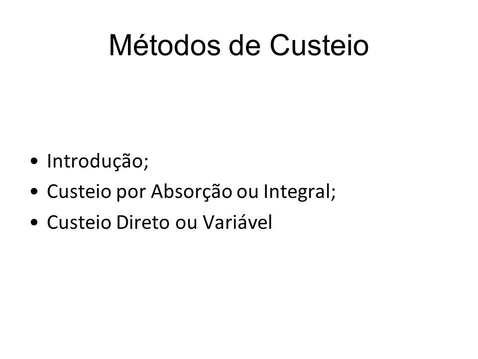 Métodos de Custeio Introdução; Custeio por Absorção ou Integral;