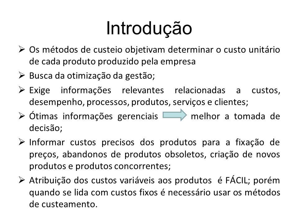 Introdução Os métodos de custeio objetivam determinar o custo unitário de cada produto produzido pela empresa.