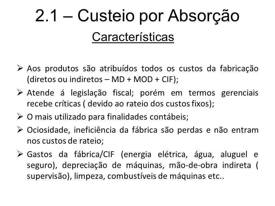 2.1 – Custeio por Absorção Características