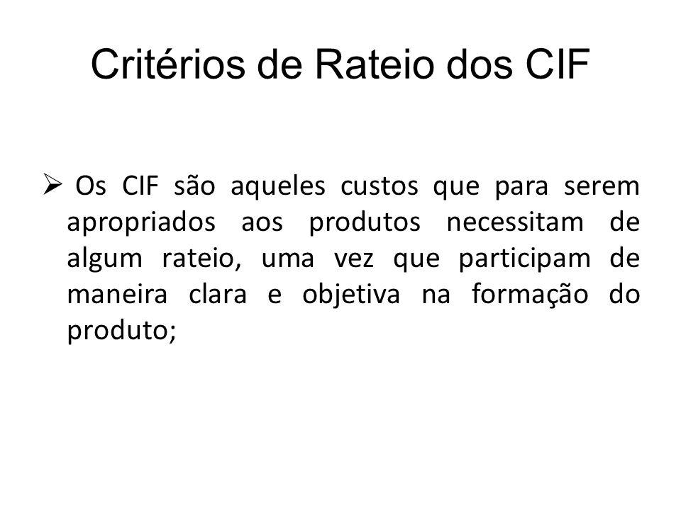 Critérios de Rateio dos CIF
