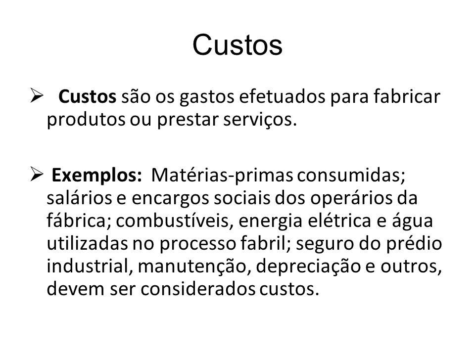 Custos Custos são os gastos efetuados para fabricar produtos ou prestar serviços.