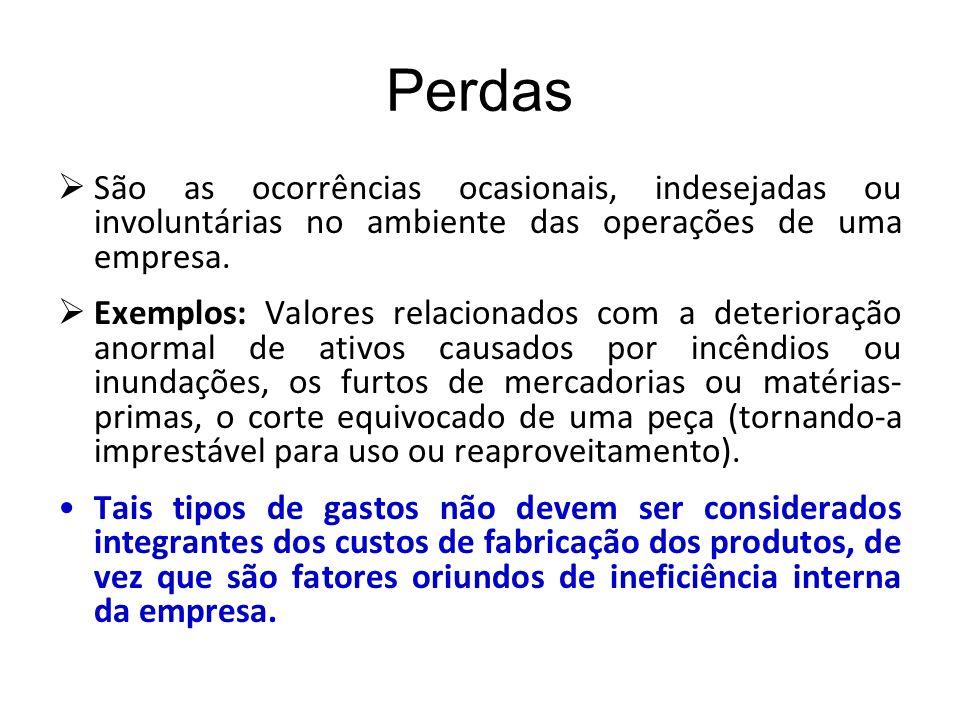 Perdas São as ocorrências ocasionais, indesejadas ou involuntárias no ambiente das operações de uma empresa.