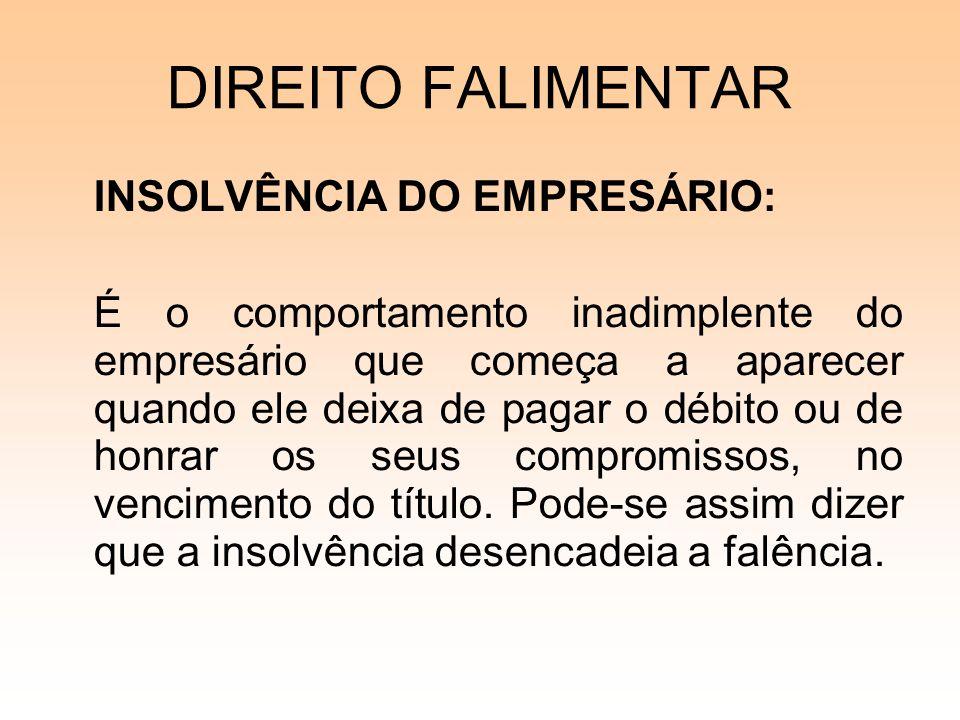 DIREITO FALIMENTAR INSOLVÊNCIA DO EMPRESÁRIO: