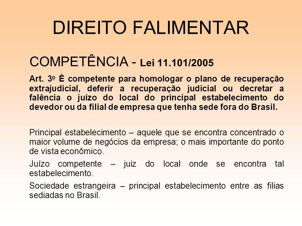 DIREITO FALIMENTAR COMPETÊNCIA - Lei 11.101/2005