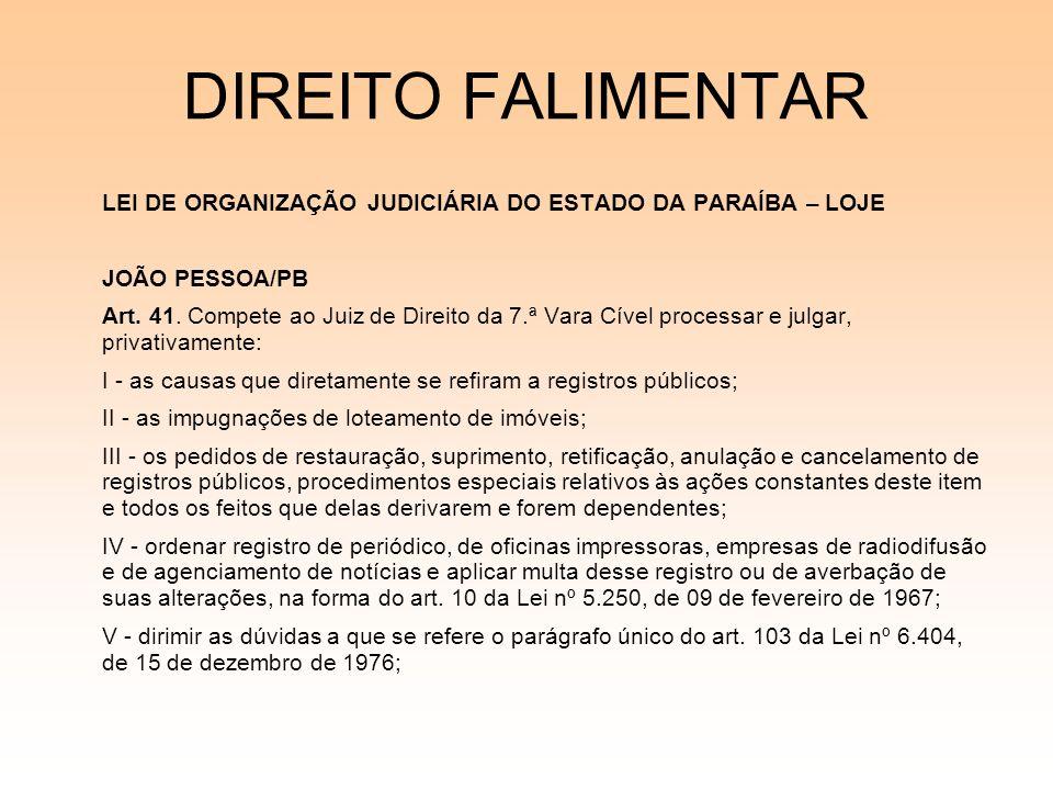 DIREITO FALIMENTAR JOÃO PESSOA/PB