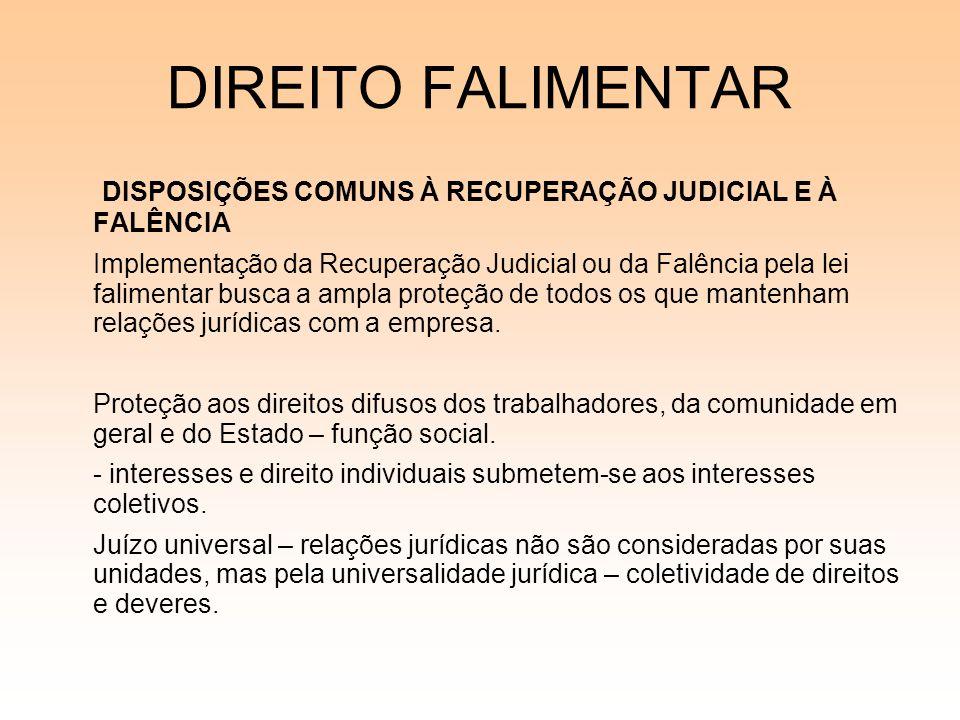 08/12/06 DIREITO FALIMENTAR. DISPOSIÇÕES COMUNS À RECUPERAÇÃO JUDICIAL E À FALÊNCIA.