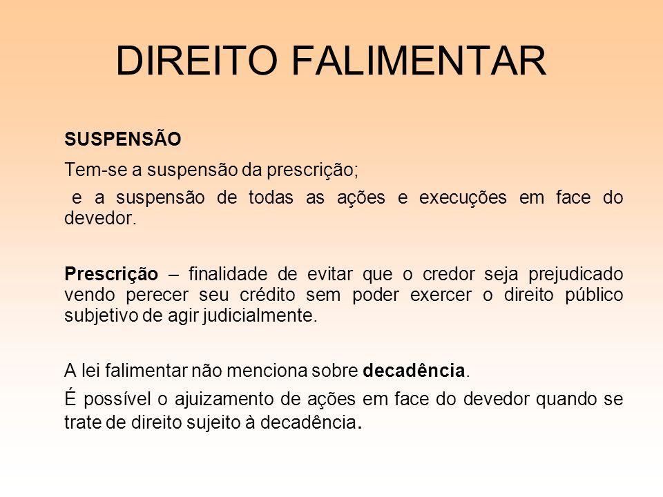 DIREITO FALIMENTAR SUSPENSÃO Tem-se a suspensão da prescrição;