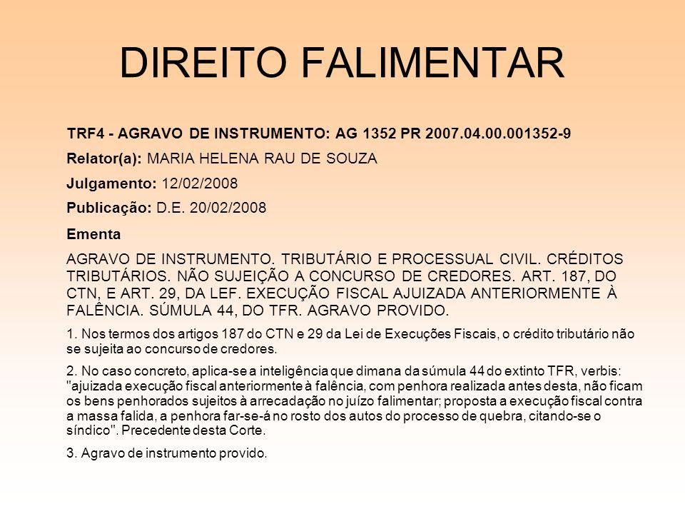 08/12/06 DIREITO FALIMENTAR. TRF4 - AGRAVO DE INSTRUMENTO: AG 1352 PR 2007.04.00.001352-9. Relator(a): MARIA HELENA RAU DE SOUZA.
