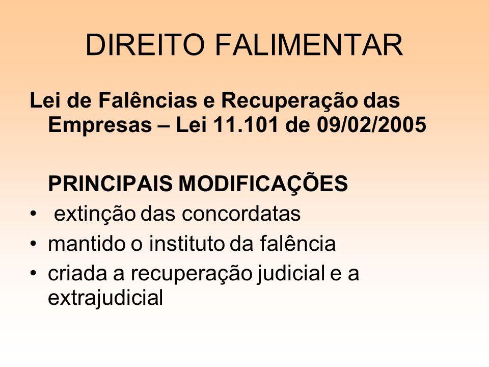 08/12/06 DIREITO FALIMENTAR. Lei de Falências e Recuperação das Empresas – Lei 11.101 de 09/02/2005.