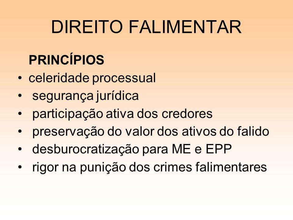 DIREITO FALIMENTAR PRINCÍPIOS celeridade processual segurança jurídica