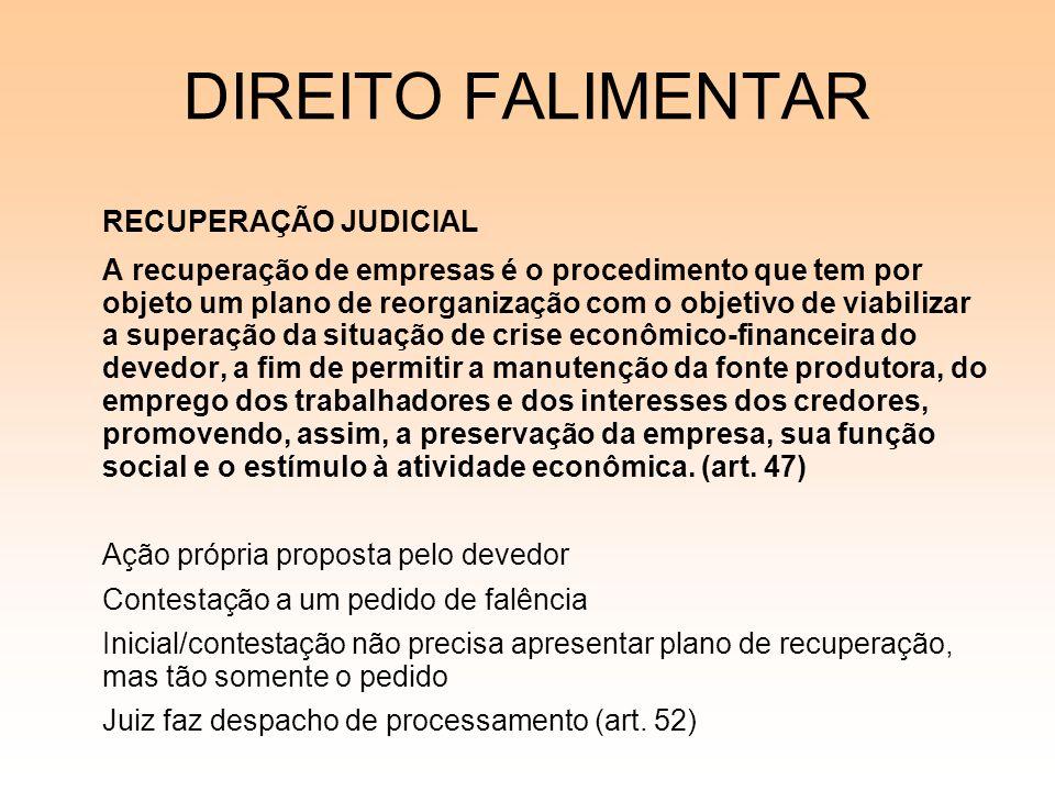 DIREITO FALIMENTAR RECUPERAÇÃO JUDICIAL