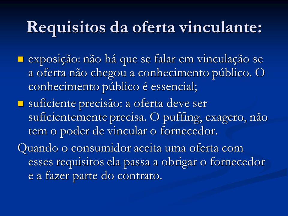 Requisitos da oferta vinculante: