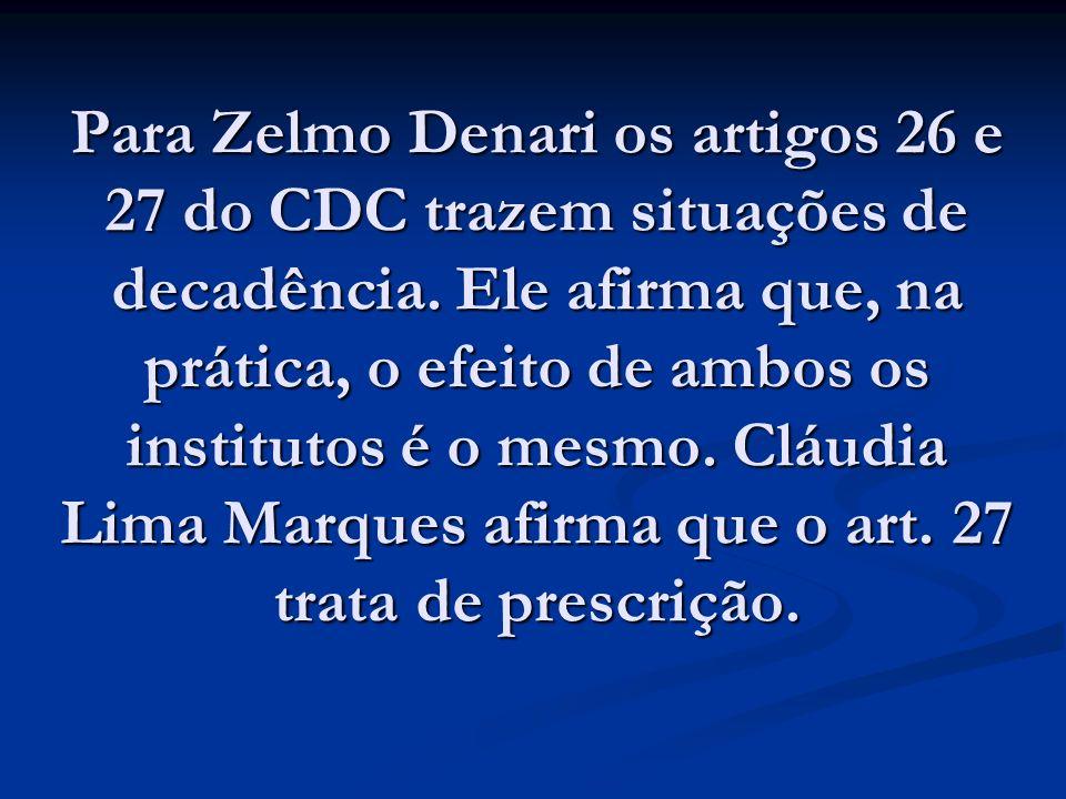 Para Zelmo Denari os artigos 26 e 27 do CDC trazem situações de decadência.