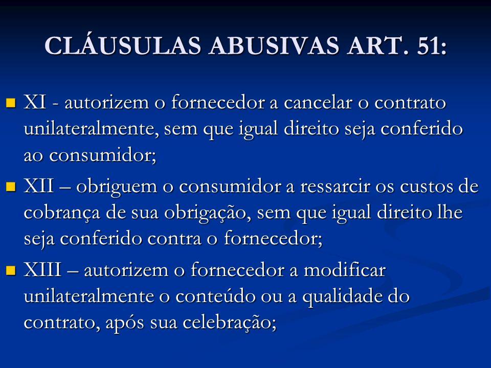 CLÁUSULAS ABUSIVAS ART. 51: