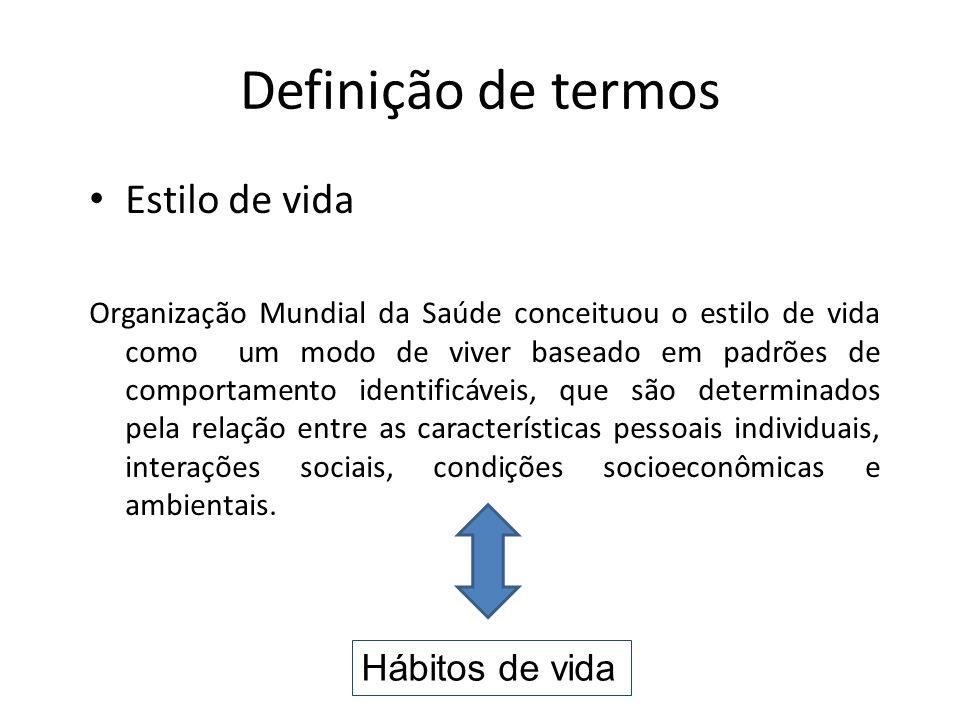Definição de termos Estilo de vida Hábitos de vida