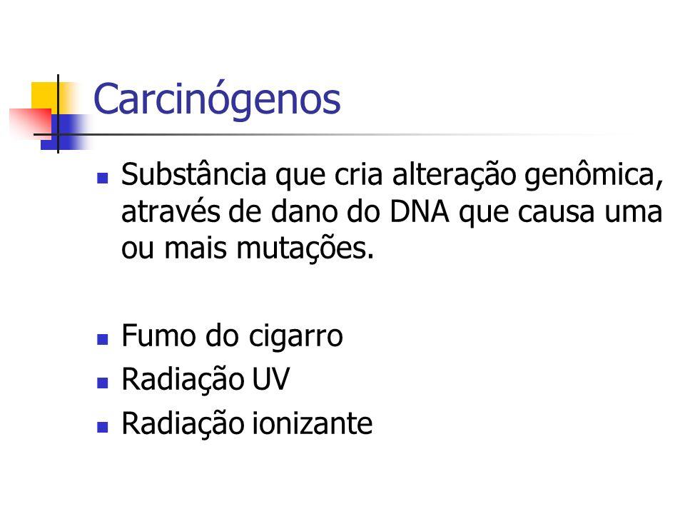 Carcinógenos Substância que cria alteração genômica, através de dano do DNA que causa uma ou mais mutações.