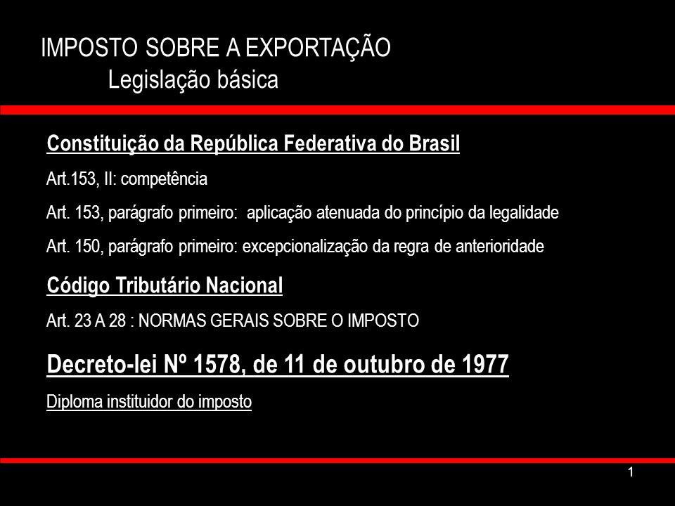 IMPOSTO SOBRE A EXPORTAÇÃO Legislação básica