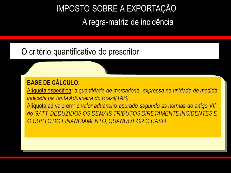 IMPOSTO SOBRE A EXPORTAÇÃO A regra-matriz de incidência
