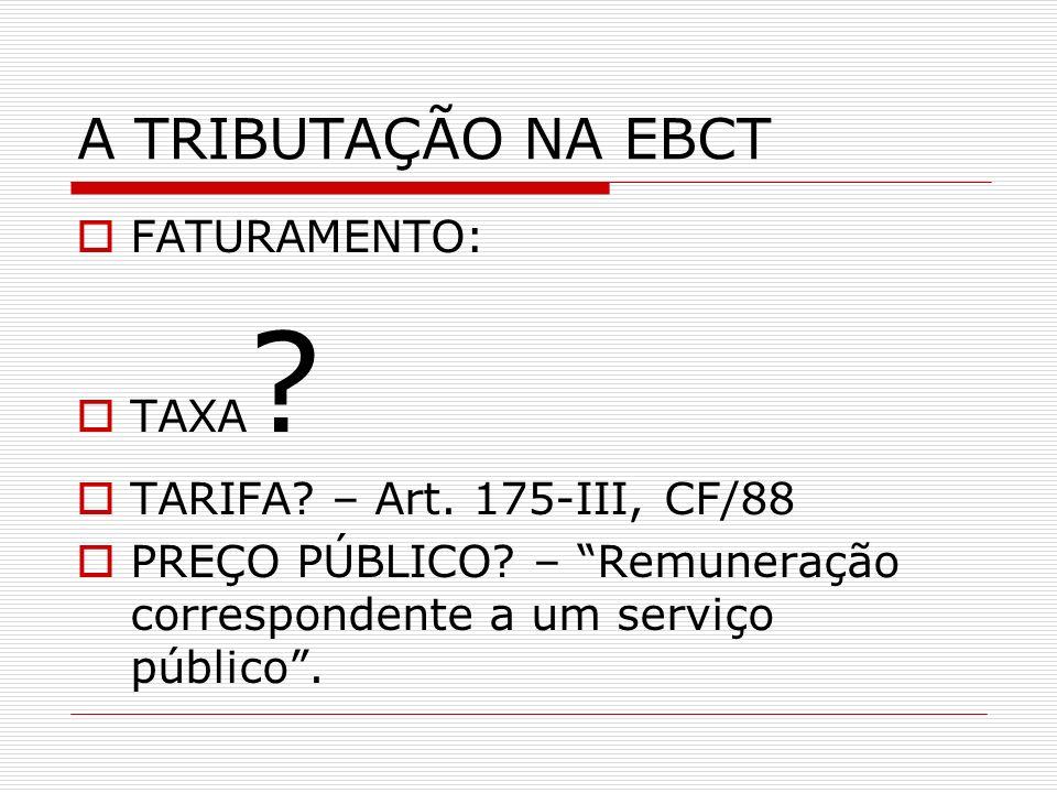 A TRIBUTAÇÃO NA EBCT FATURAMENTO: TAXA TARIFA – Art. 175-III, CF/88