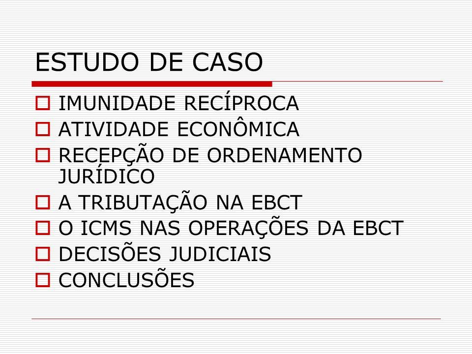 ESTUDO DE CASO IMUNIDADE RECÍPROCA ATIVIDADE ECONÔMICA