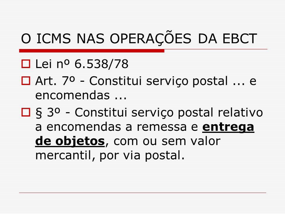 O ICMS NAS OPERAÇÕES DA EBCT