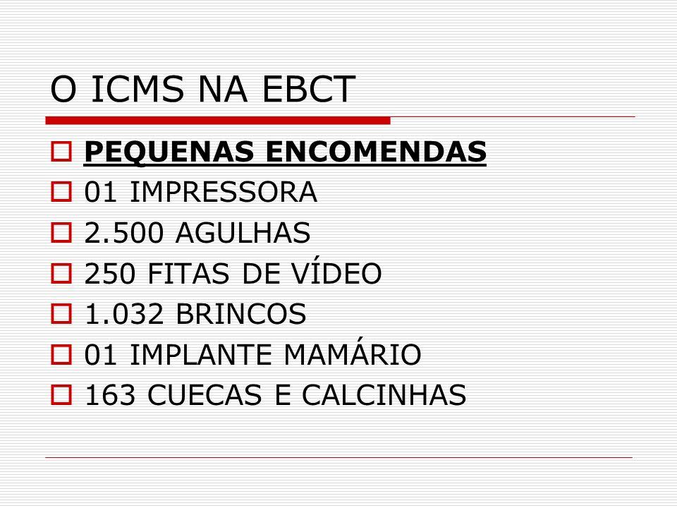 O ICMS NA EBCT PEQUENAS ENCOMENDAS 01 IMPRESSORA 2.500 AGULHAS