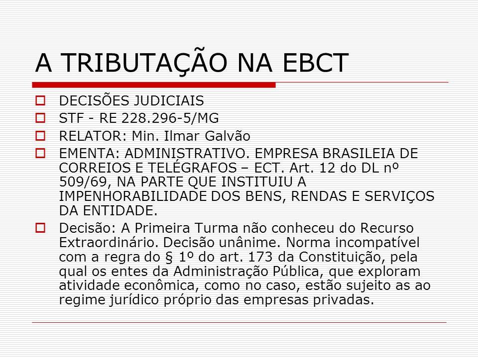 A TRIBUTAÇÃO NA EBCT DECISÕES JUDICIAIS STF - RE 228.296-5/MG
