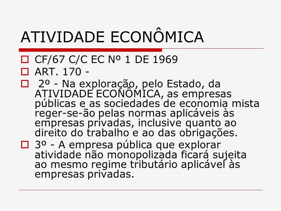 ATIVIDADE ECONÔMICA CF/67 C/C EC Nº 1 DE 1969 ART. 170 -