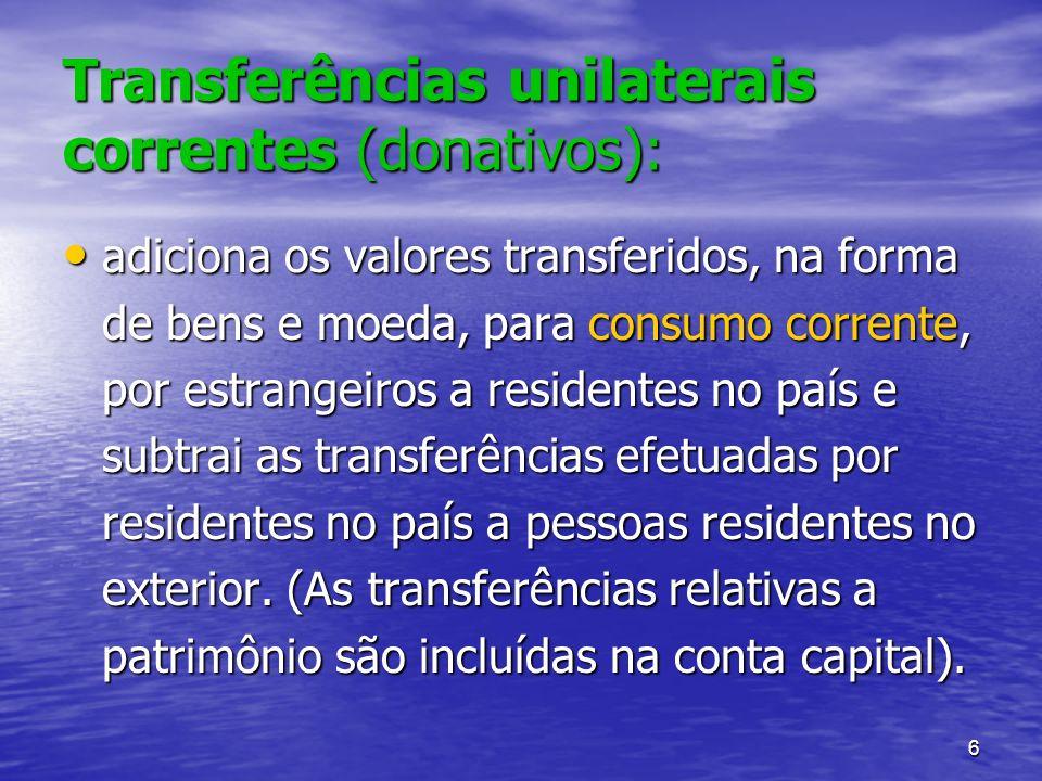Transferências unilaterais correntes (donativos):