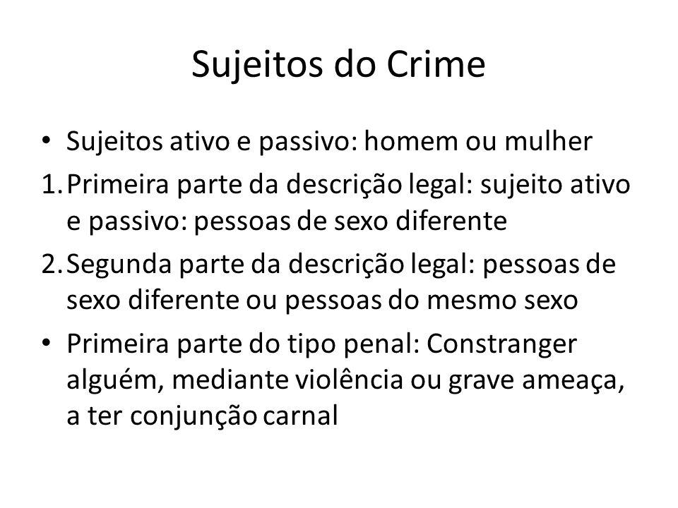 Sujeitos do Crime Sujeitos ativo e passivo: homem ou mulher