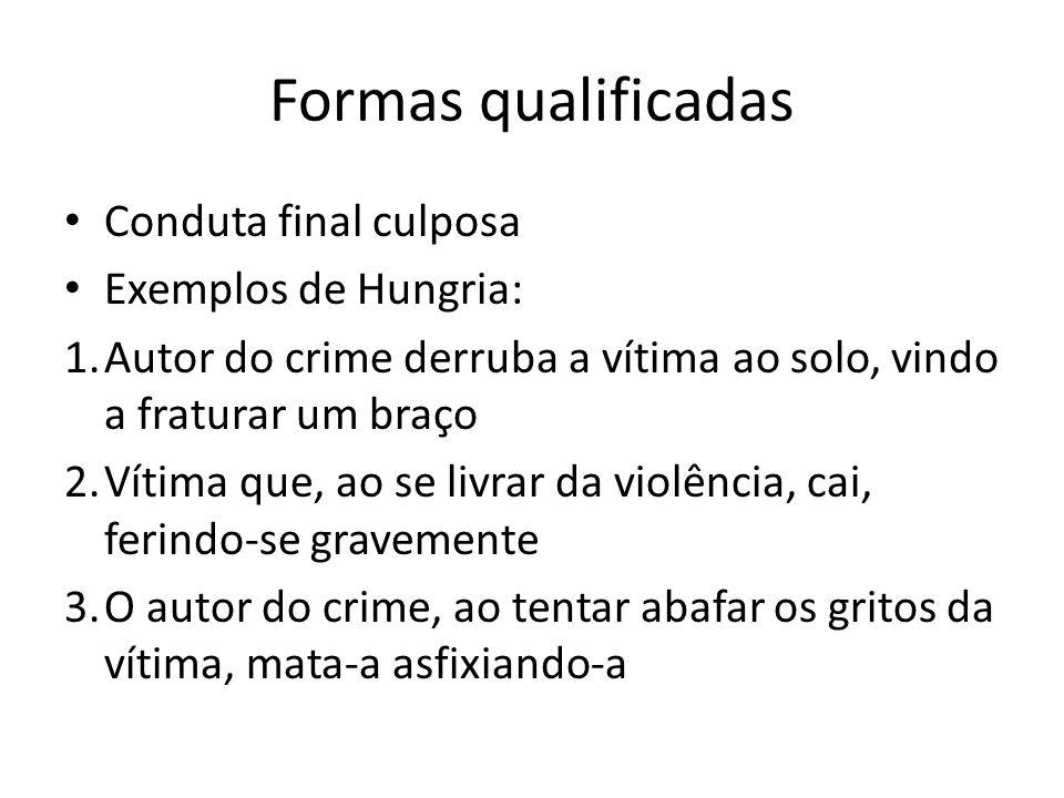 Formas qualificadas Conduta final culposa Exemplos de Hungria: