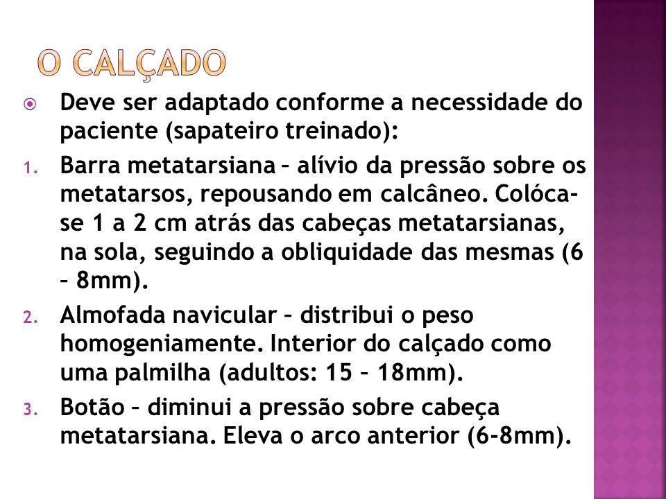 O calçado Deve ser adaptado conforme a necessidade do paciente (sapateiro treinado):