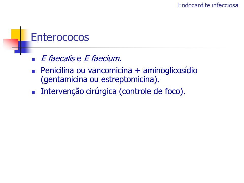Enterococos E faecalis e E faecium.