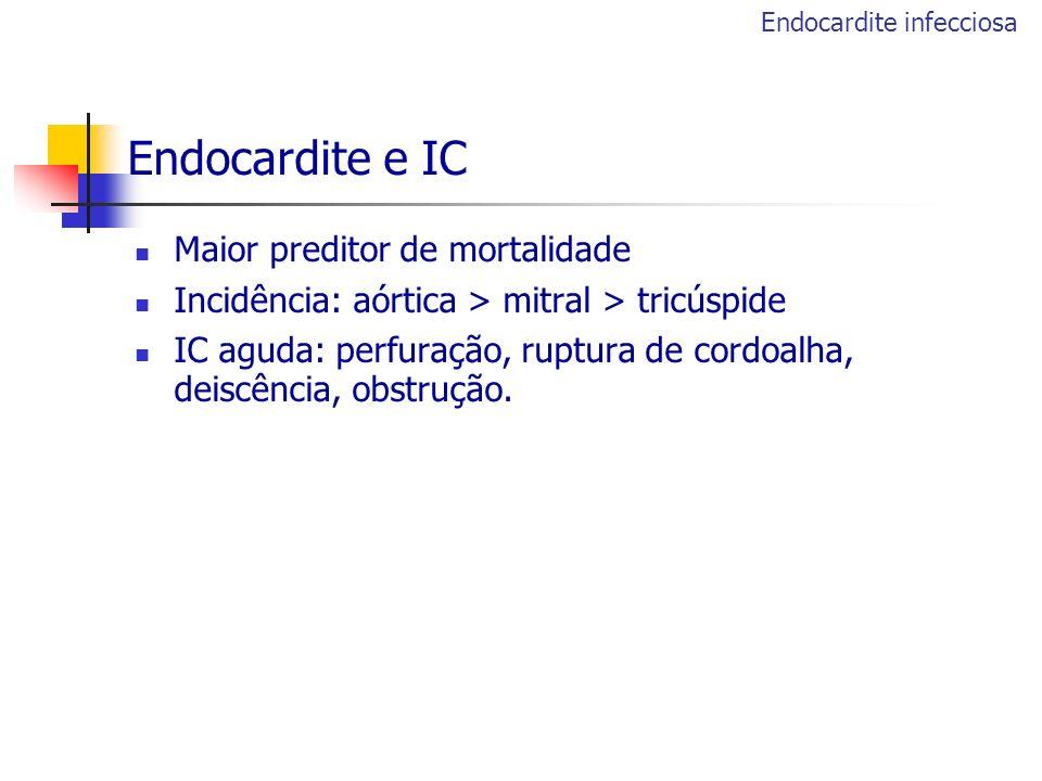 Endocardite e IC Maior preditor de mortalidade