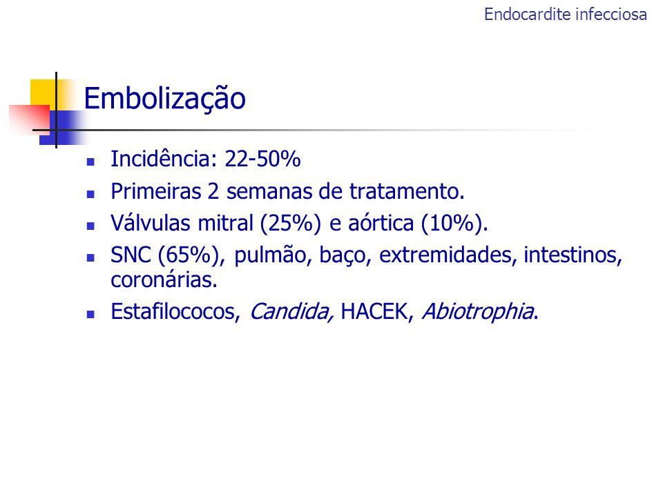 Embolização Incidência: 22-50% Primeiras 2 semanas de tratamento.