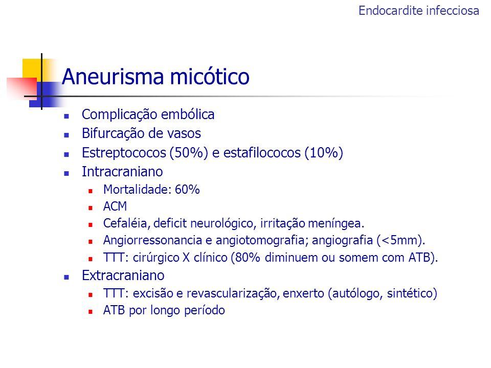 Aneurisma micótico Complicação embólica Bifurcação de vasos