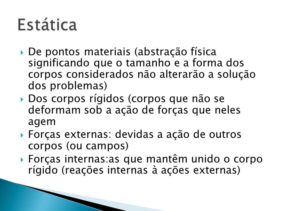 Estática De pontos materiais (abstração física significando que o tamanho e a forma dos corpos considerados não alterarão a solução dos problemas)