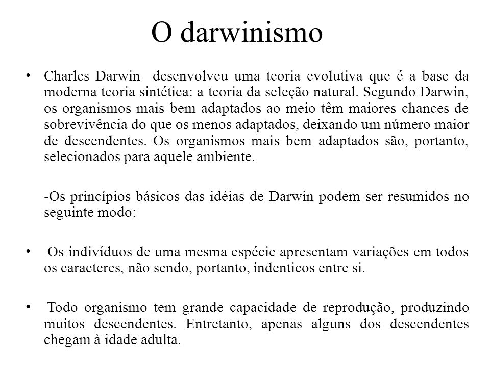 O darwinismo
