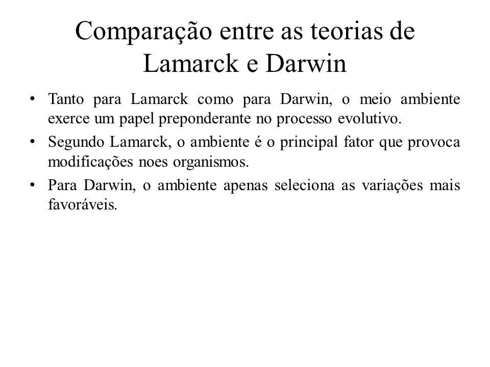 Comparação entre as teorias de Lamarck e Darwin