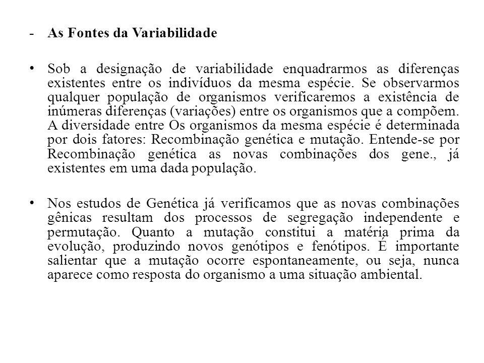 - As Fontes da Variabilidade