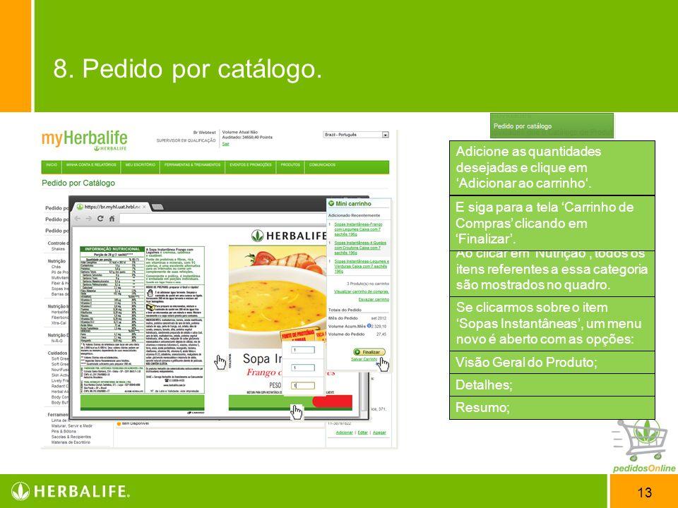 8. Pedido por catálogo. Você pode visualizar os 'Rótulos' dos produtos clicando sobre a imagem 'PDF'.