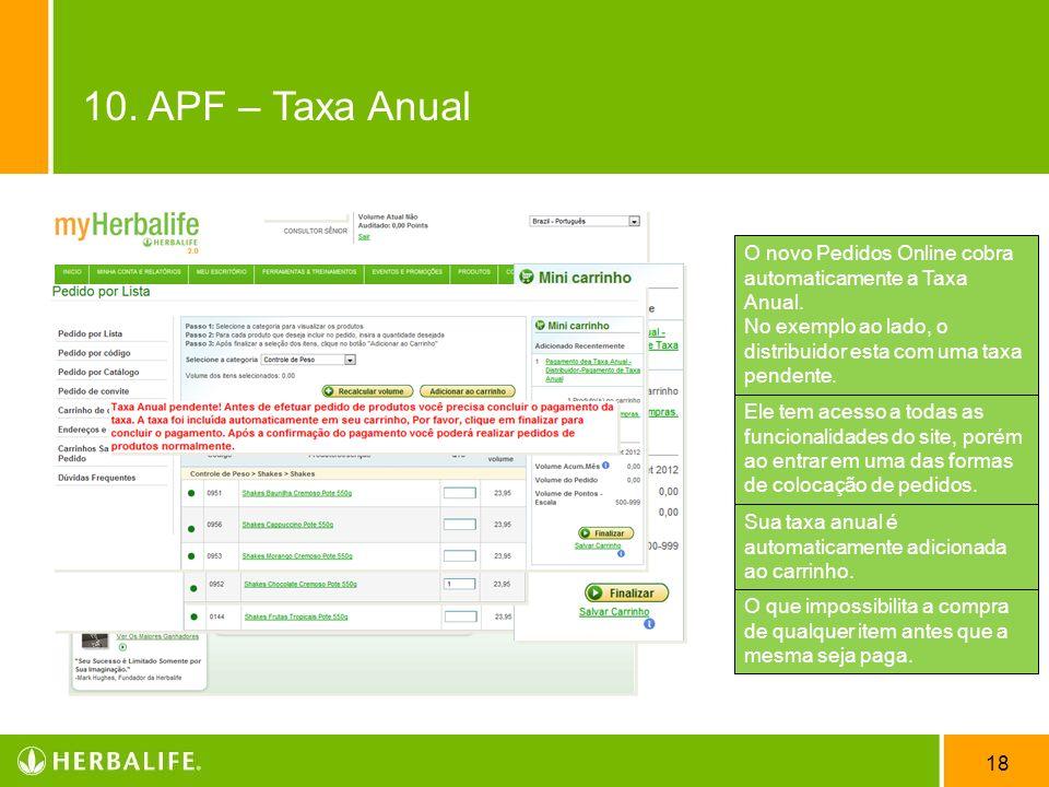 10. APF – Taxa Anual O novo Pedidos Online cobra automaticamente a Taxa Anual. No exemplo ao lado, o distribuidor esta com uma taxa pendente.