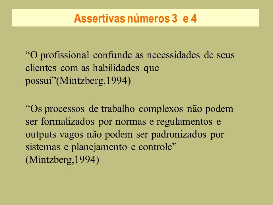 Assertivas números 3 e 4 O profissional confunde as necessidades de seus clientes com as habilidades que possui (Mintzberg,1994)