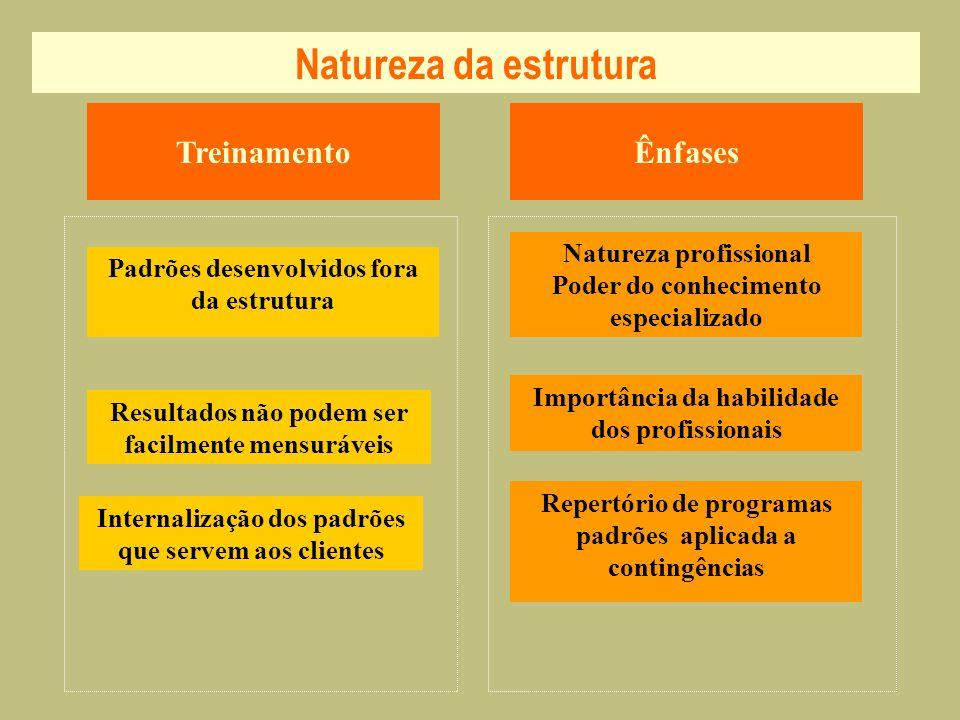 Natureza da estrutura Treinamento Ênfases Natureza profissional