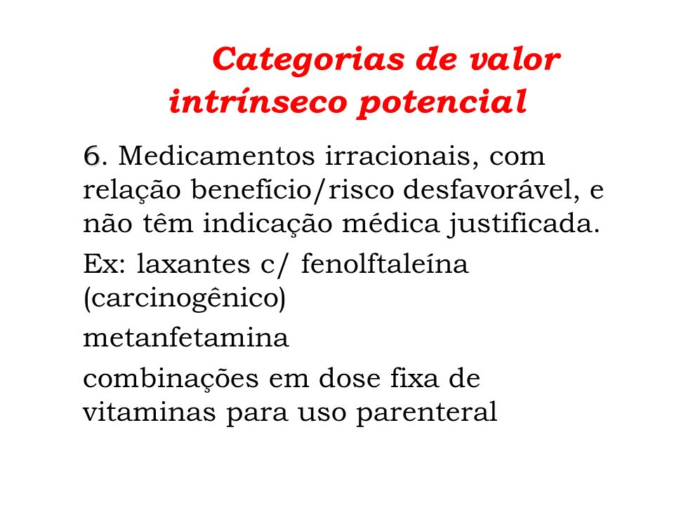 Categorias de valor intrínseco potencial