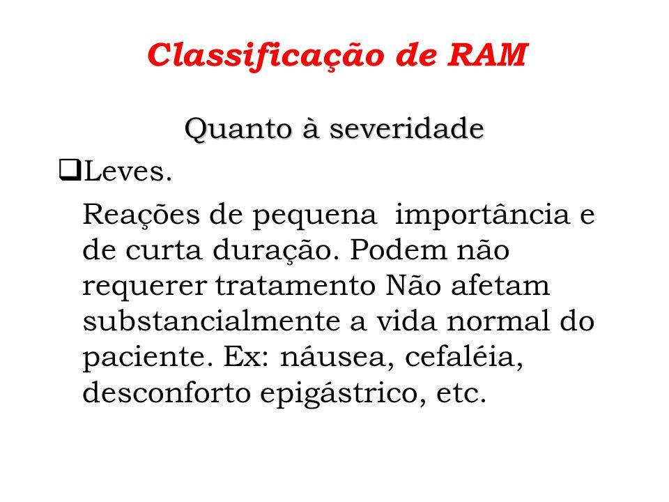 Classificação de RAM Quanto à severidade Leves.