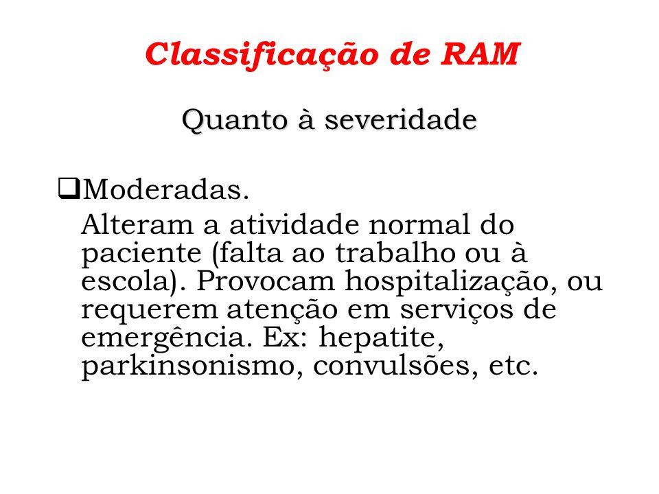 Classificação de RAM Quanto à severidade Moderadas.