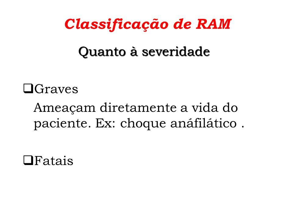 Classificação de RAM Quanto à severidade Graves
