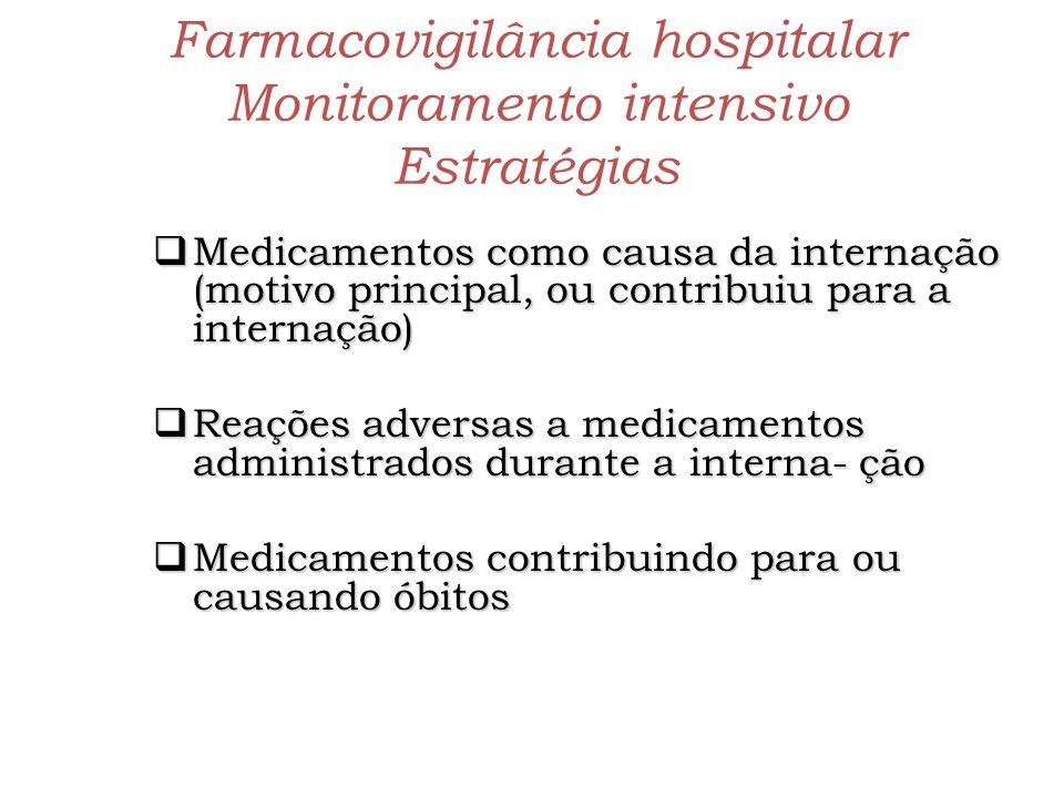 Farmacovigilância hospitalar Monitoramento intensivo Estratégias