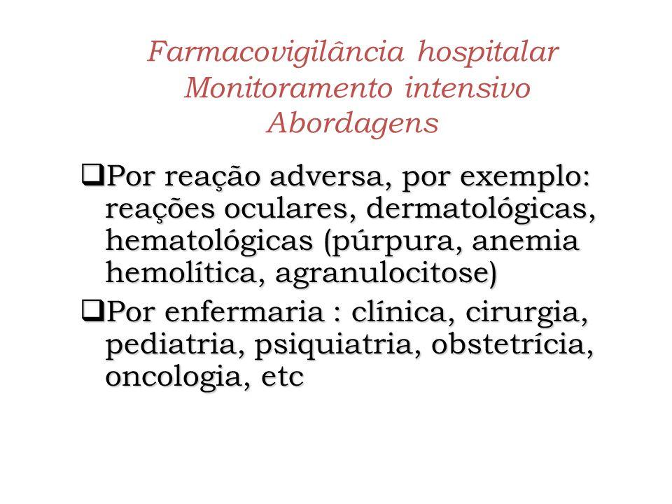 Farmacovigilância hospitalar Monitoramento intensivo Abordagens
